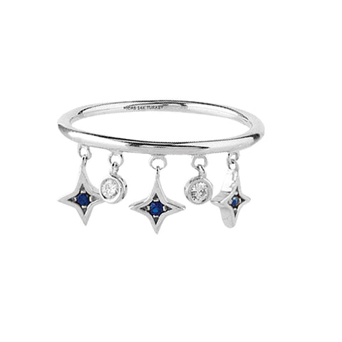 14K White Gold Diamond Sapphire Dangle Ring
