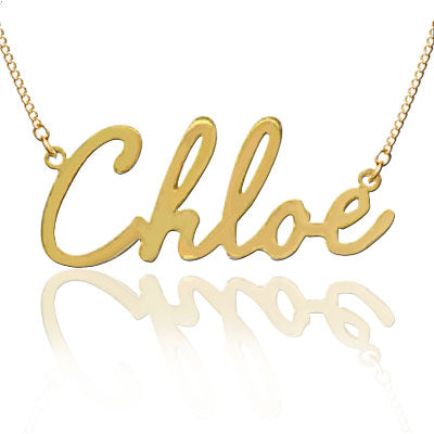"Personalized Name Plate Gold Necklace in ""Chloe"" Script (Silver & Gold)"