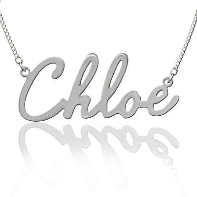 "Personalized Sterling Silver Name Plate Necklace in ""Chloe"" Script (more colors)"