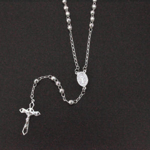 Sterling Silver 925 High Polished Diamond Cut Rosary 4mm - ROS14