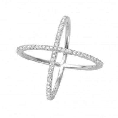 925 Sterling Silver Rhodium Plated Cross 4 way CZ Ring
