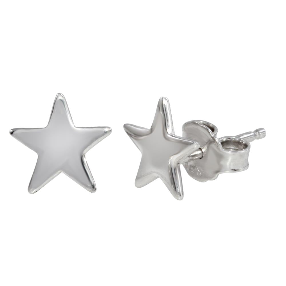 Sterling Silver 925 Rhodium Plated Star Post Stud Earrings