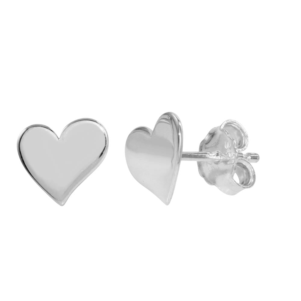 Sterling Silver 925 Rhodium Plated Flat Heart Stud Earrings