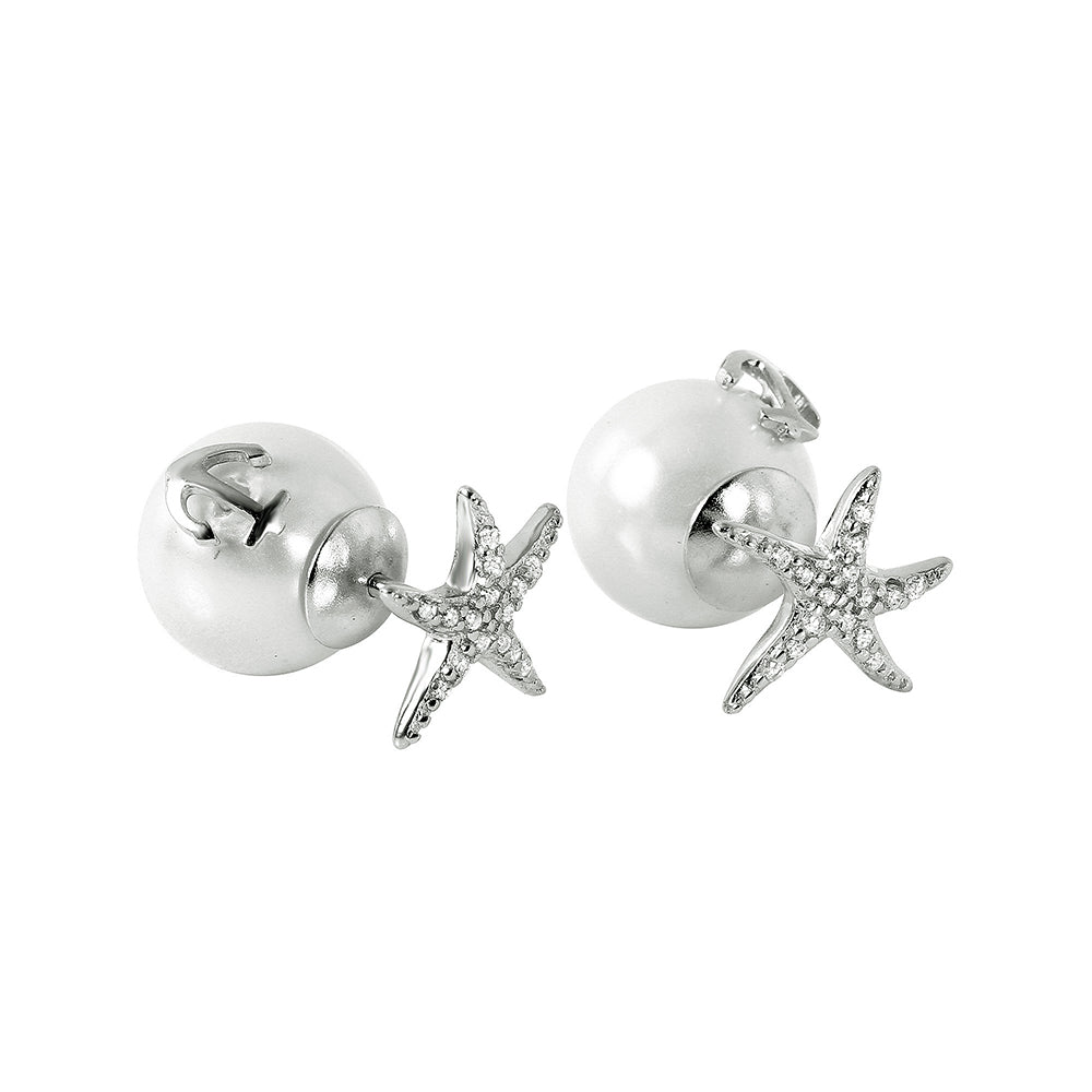 Sterling Silver 925 Rhodium Plated Starfish Pearl Stud Earrings