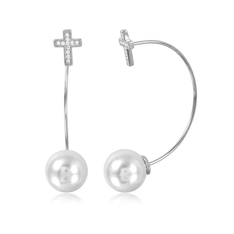 Sterling Silver 925 Rhodium Plated Cross Earrings with Hanging Synthetic Pearl