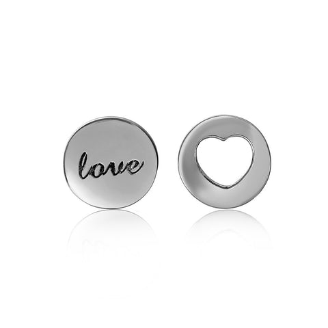 Sterling Silver 925 Rhodium Plated Love and Heart Stud Earrings