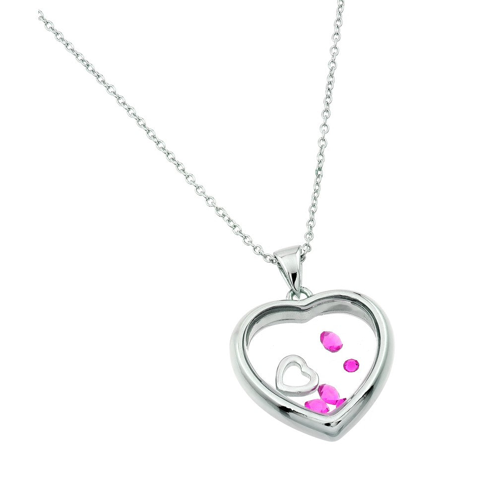 925 Sterling Silver Rhodium Plated Birthstone Heart Pendant - October - Rose