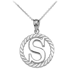 "Sterling Silver ""S"" Initial in Rope Circle Pendant Necklace"