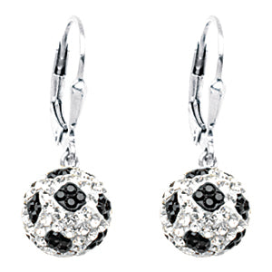 Sterling Silver 8MM Soccer Cleverback Earrings