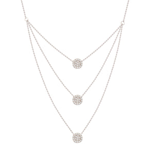 3 Strands CZ Disk BIB Pendant Necklace