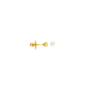 3.0M CZ 6 PRONG STUD Earring with screw back (children)
