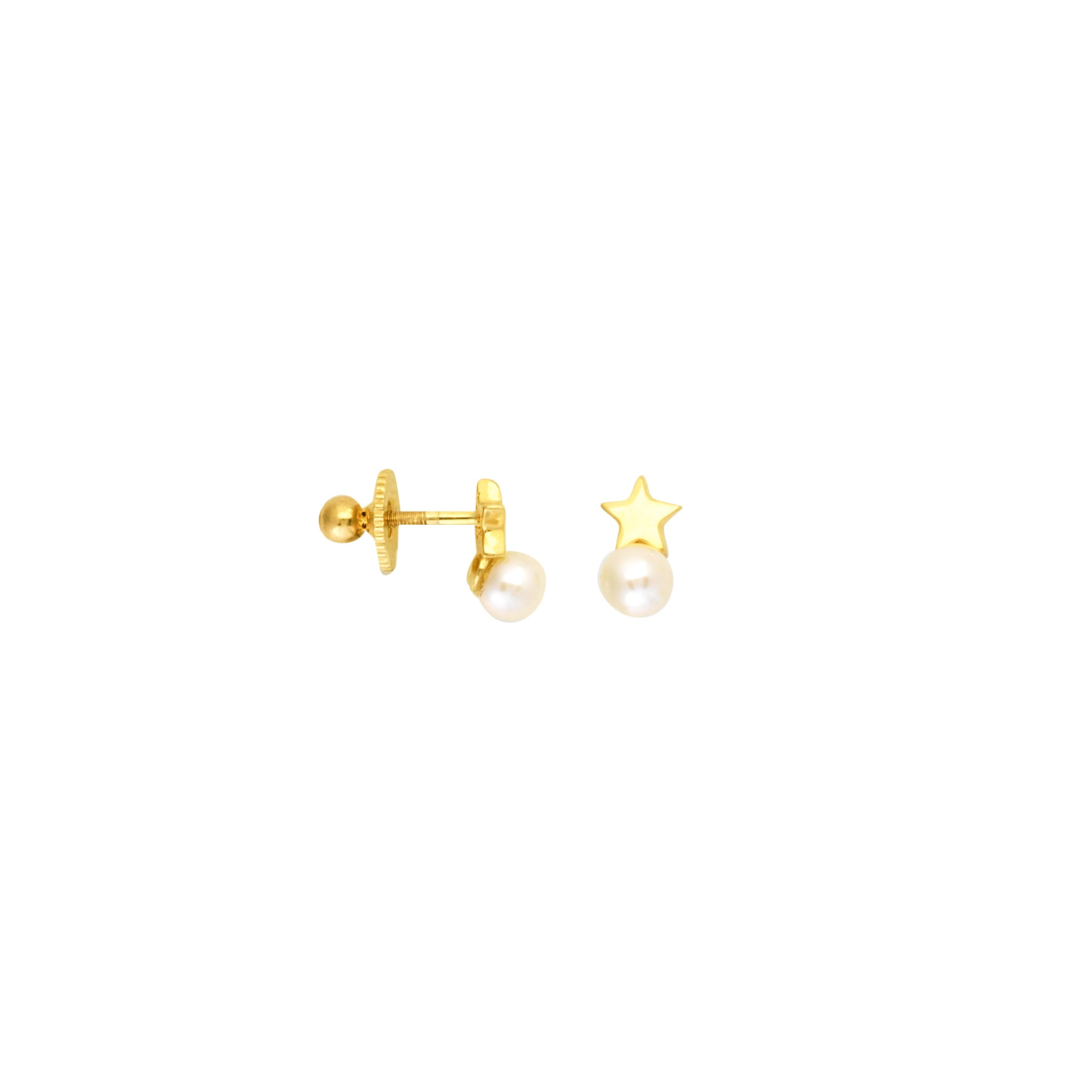 STAR W/4MM PEARL STUD Earring SCREW BACK (children)