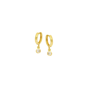 14K Gold Baby Hoop 3 MM bezel with Dangle Earrings