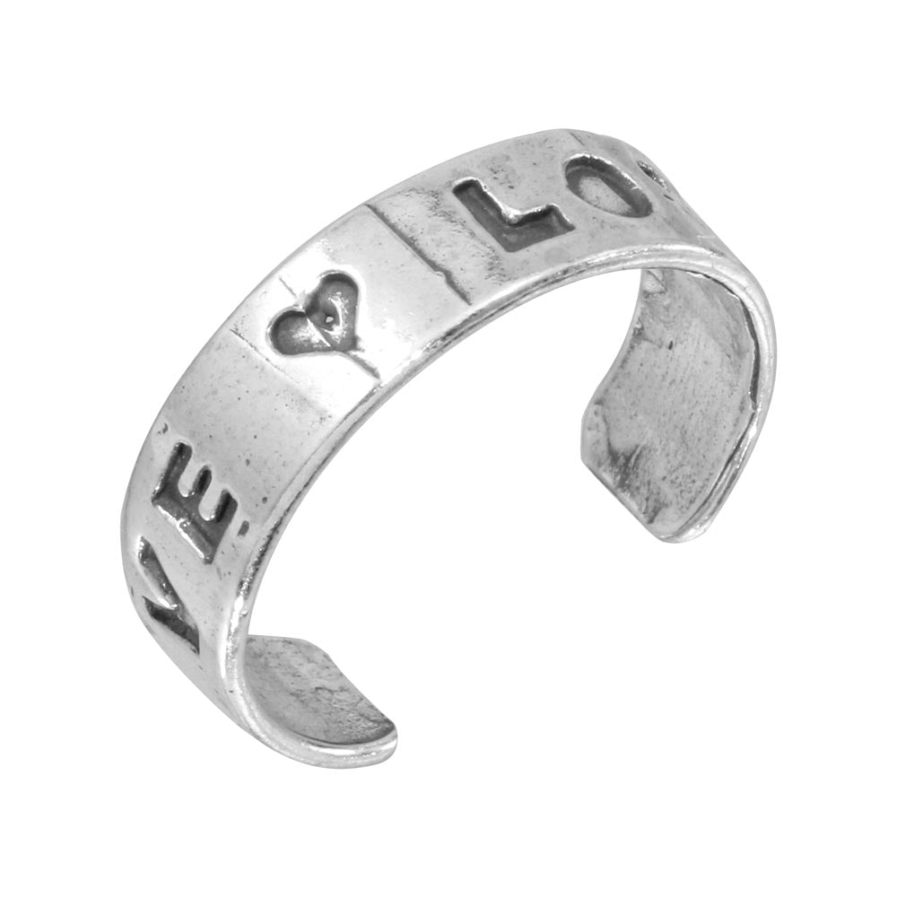 925 Sterling Silver Engraved Love Adjustable Toe Ring
