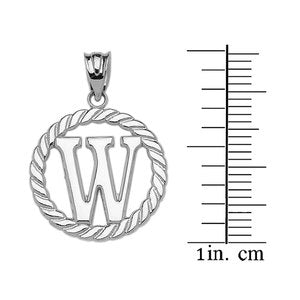 "Sterling Silver ""W"" Initial in Rope Circle Pendant Necklace"