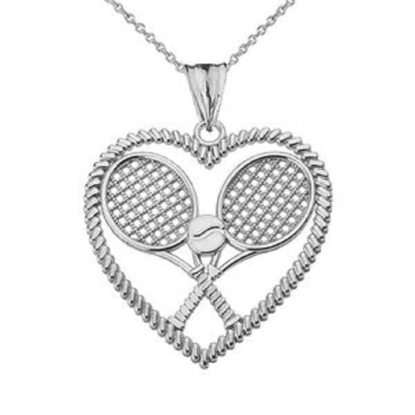 Detailed Sports Tennis Rackets Heart Pendant Necklace in Sterling Silver