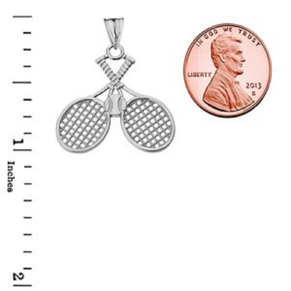 Detailed Sports Tennis Rackets Pendant Necklace in Sterling Silver