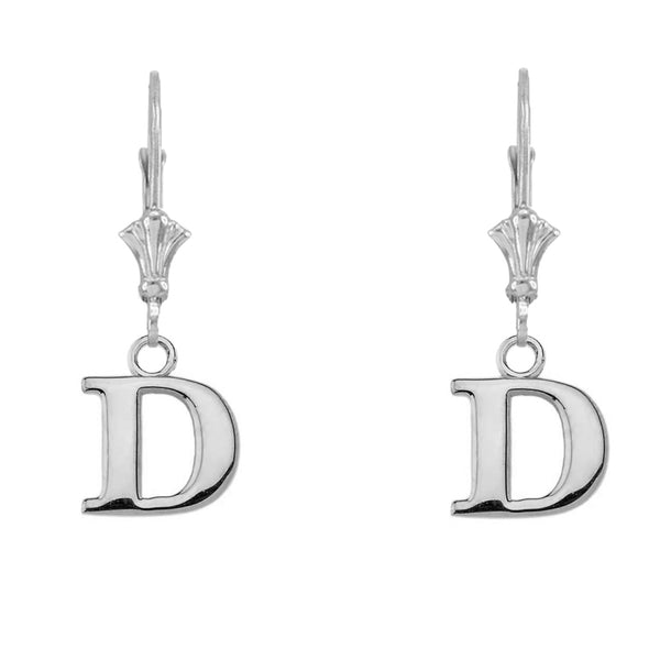 Personalized Sterling Silver Initial Letter Name Cleverback Earrings (A-Z)