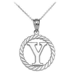 "Sterling Silver ""Y"" Initial in Rope Circle Pendant Necklace"