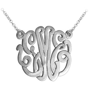 Sterling Silver Classic Monogram Necklace with Split Chain (many sizes)