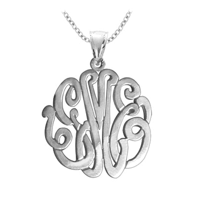 Sterling Silver Classic Monogram Necklace (many sizes)
