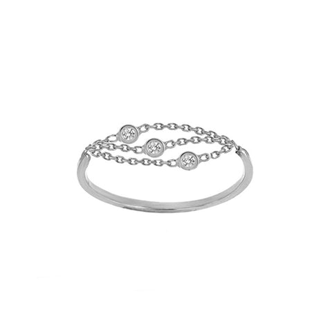 14K White Gold Diamond Multi Strand and Bezels Ring (more colors)