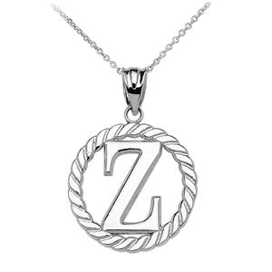 "Sterling Silver ""Z"" Initial in Rope Circle Pendant Necklace"