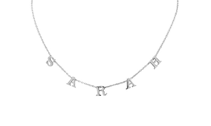925 Sterling Silver Spaced Letter Name Necklace