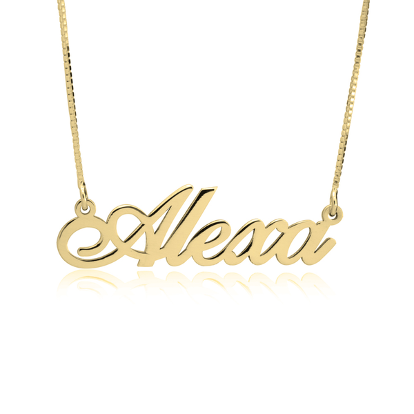 Personalized 14K Solid White Classic Name Plate Necklace (more colors)
