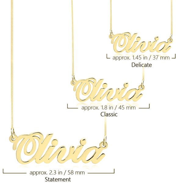 Personalized Classic Name Plate Necklace (Silver & Gold)
