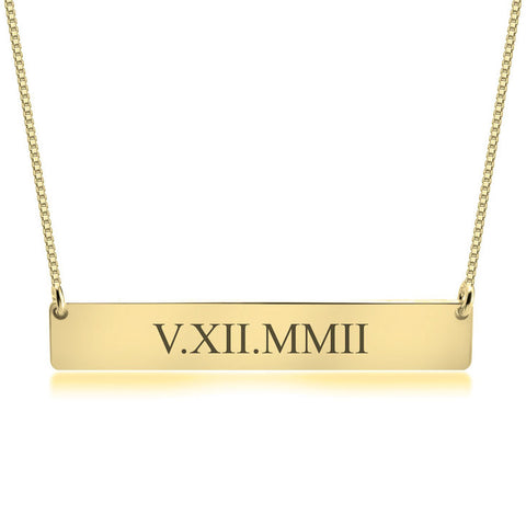 Personalized Gold over Silver Roman Numeral Date Bar Necklace (more colors)