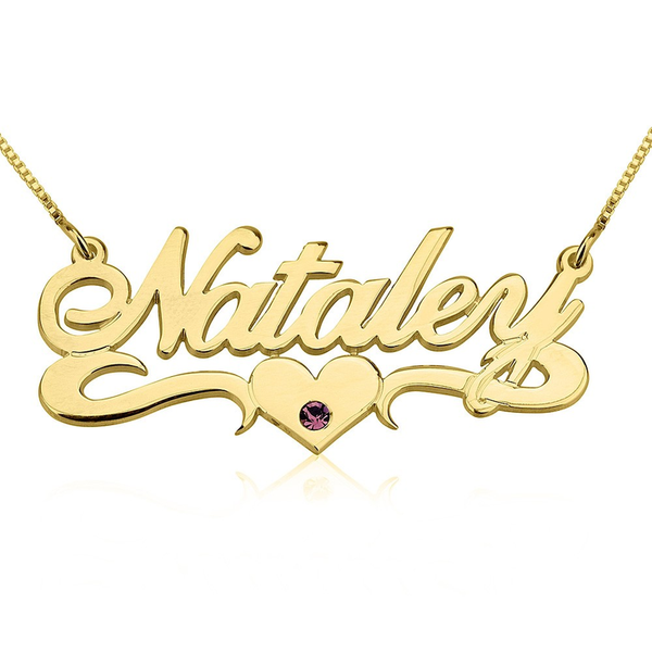 Personalized Gold Name Plate Birthstone Necklace