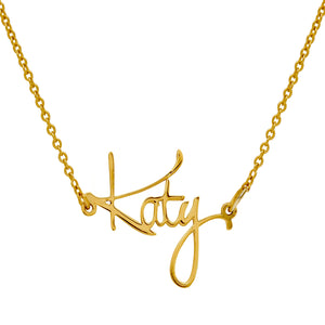 "Personalized Sterling Silver Name Plate Necklace in ""Katy"" Style (more colors)"