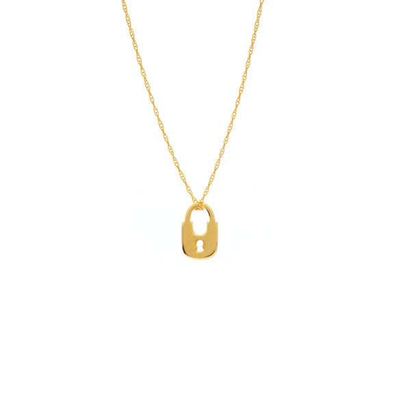 14K Yellow Gold Mini Lock Cut Out Necklace with Rope Chain
