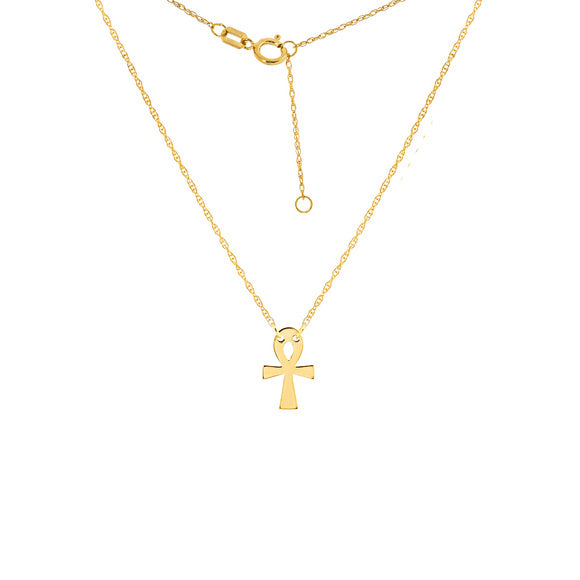 14K Yellow Gold Mini Cross Dainty Necklace - Minimalist