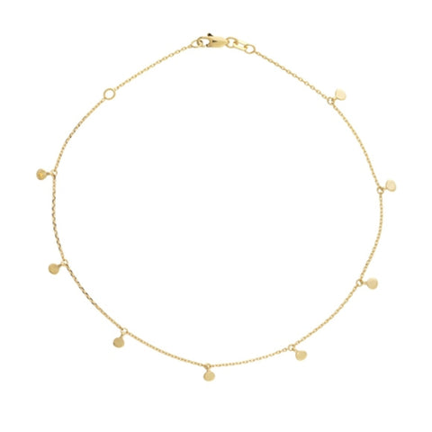 14K Yellow Gold 8PC Dangle Mini Disk Adjustable Anklet