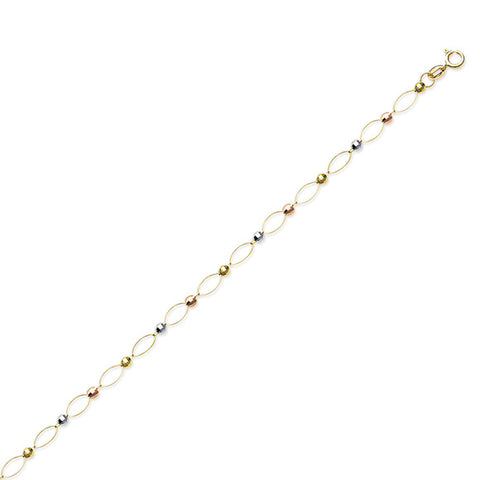 14K Gold Open Oval Tricolor Beads Anklet