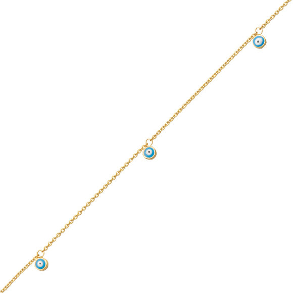 14K Yellow Gold Evil Eyes Ankle Bracelet Anklet