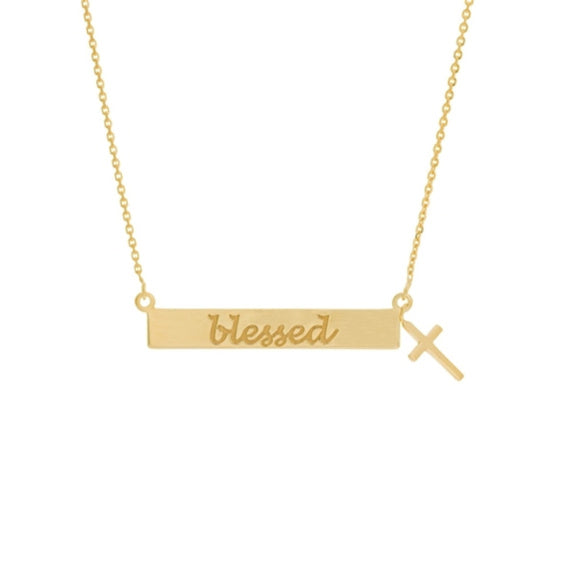14K Yellow Gold Engraved Blessed Bar Dangle Cross Necklace