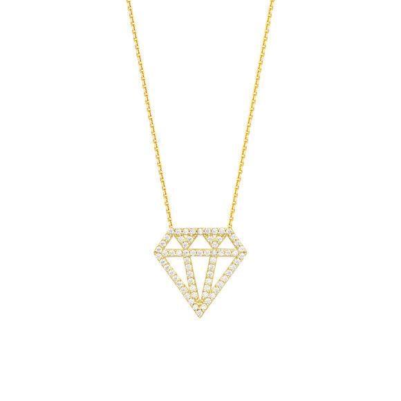 14K Yellow Gold CZ Diamond Image Necklace With Adjustable Chain
