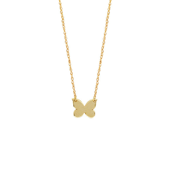14K Yellow Gold Mini Butterfly Cut Out Rope Chain Dainty Necklace - Minimalist