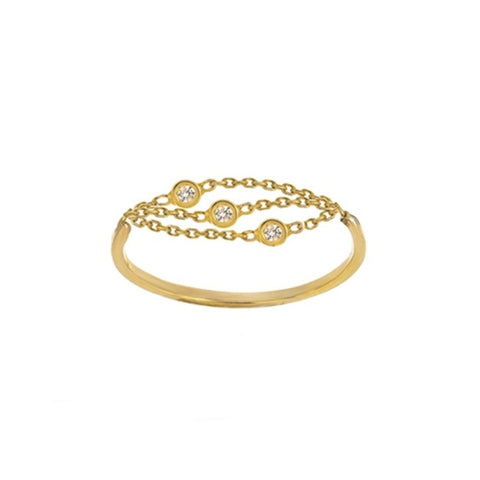 14K Yellow Gold Diamond Multi Strand and Bezels Ring (more colors)