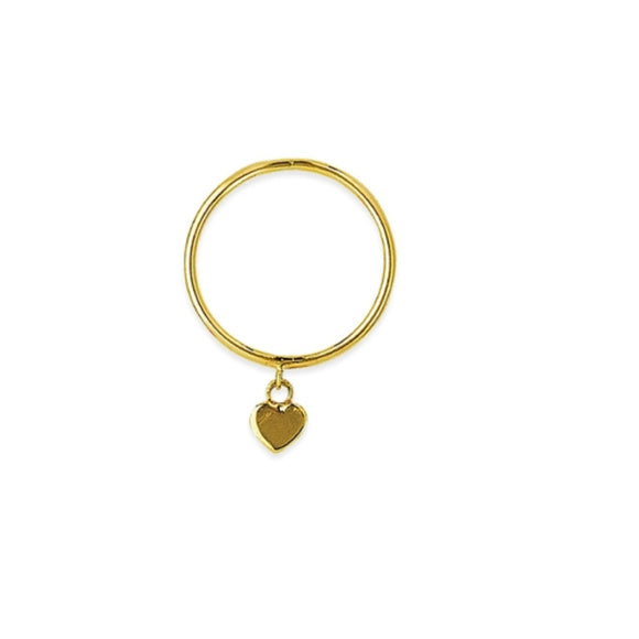 14K Yellow Gold Dangle Heart Wire Ring