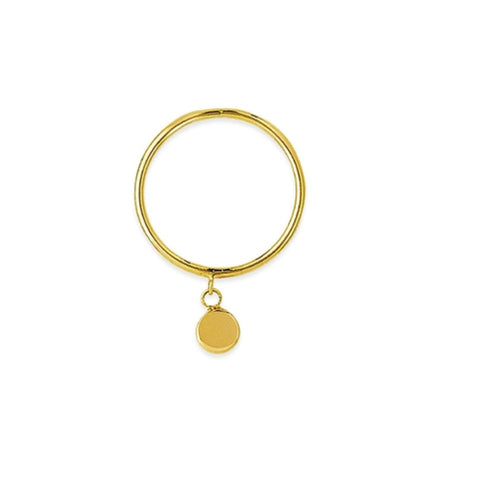 14K Yellow Gold 3D Disk Dangle Ring