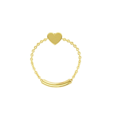 14K Yellow Gold Heart Shape Chain Sizing Ring