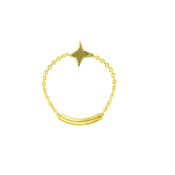 14K Yellow Gold Star Chain Sizing Bar Ring
