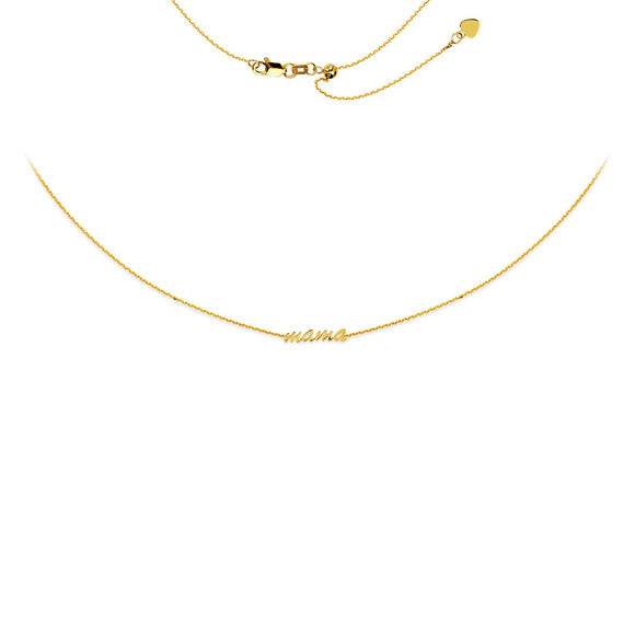 14K Yellow Gold Script Mama Adjustable Choker Necklace