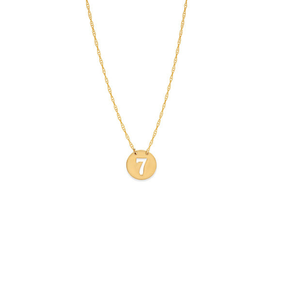 14K Yellow Gold Mini Disk Cut Out Number Seven 7 Rope Chain Adjustable Necklace
