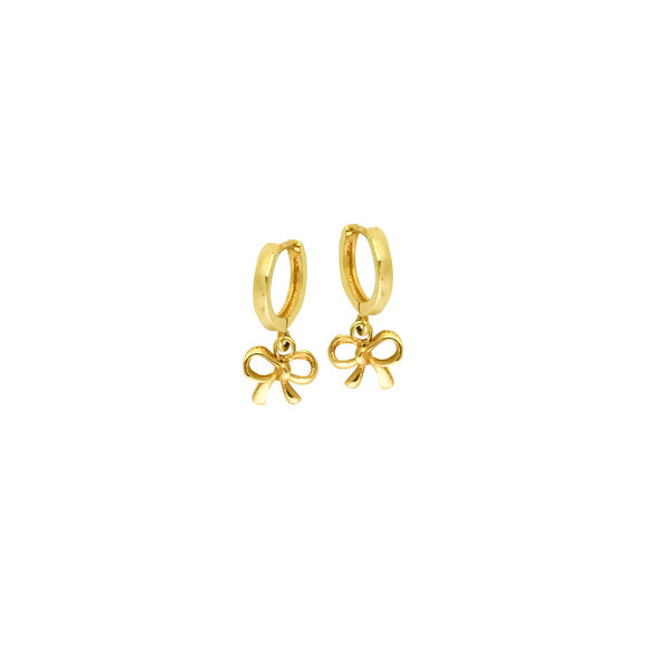 14K Yellow Gold 10M Baby Hoop Dangle Bow Earrings