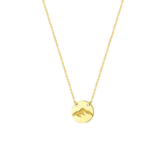 14K Yellow Gold Mini Disk Engrave Mountain Chain Adjustable Necklace